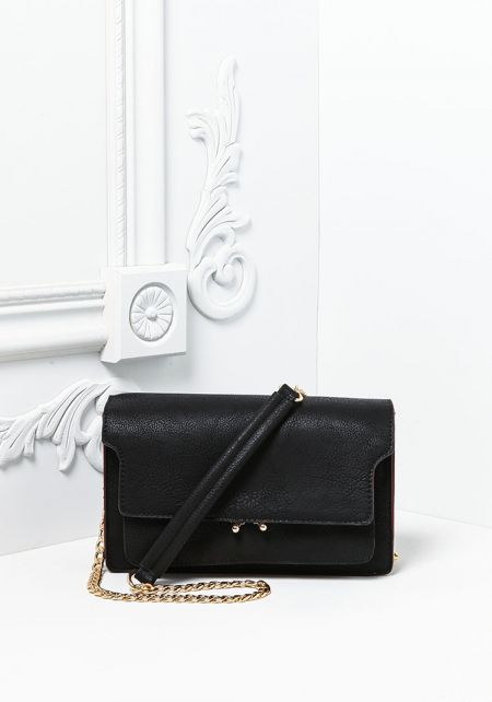 Black Structured Leatherette Crossbody Bag