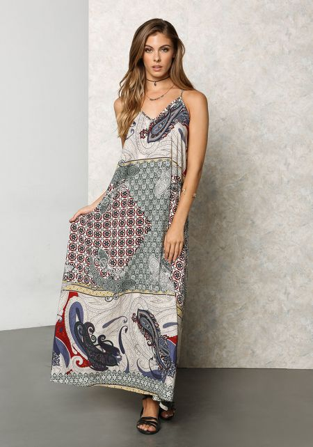 Blue Multi Print Low V Maxi Dress