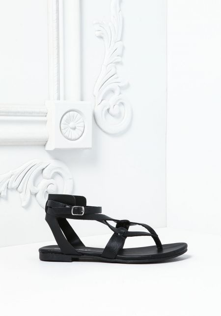 Black Intertwined Strappy Sandals