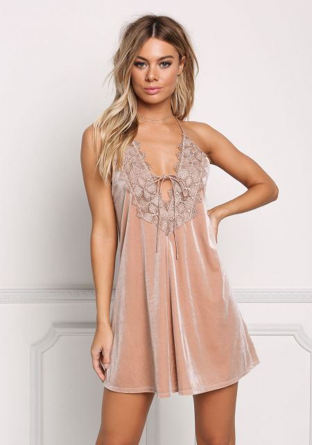 Champagne Velvet Lace Plunge Slip Dress