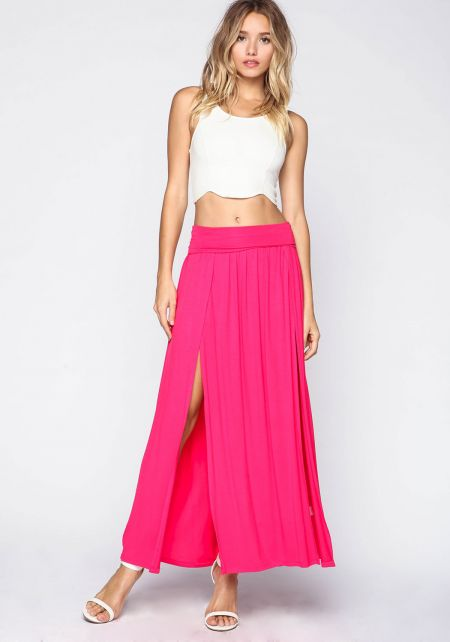Fuchsia High Slit Jersey Maxi Skirt