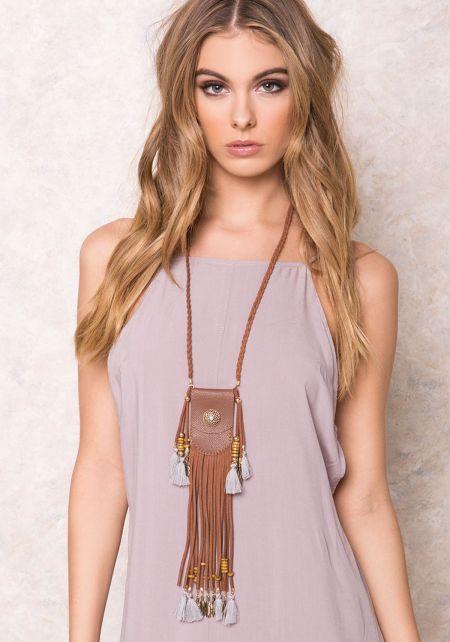 Brown Leatherette Dream Catcher Pouch Necklace