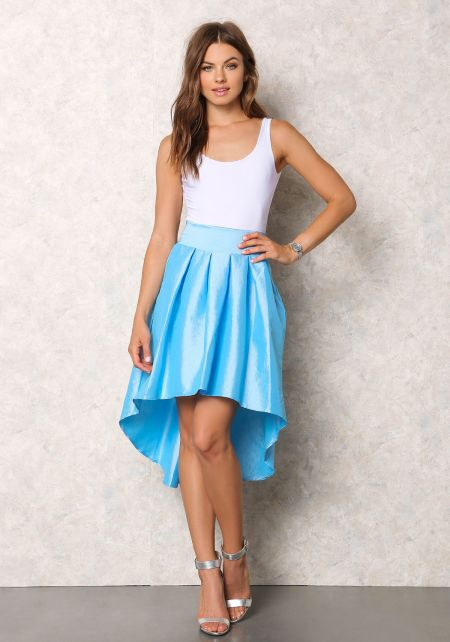Blue Lustrous Taffeta Hi-Lo Pleat Skirt