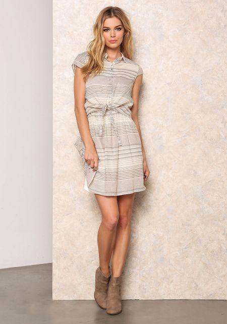 Striped Tied Flare Shirt Dress