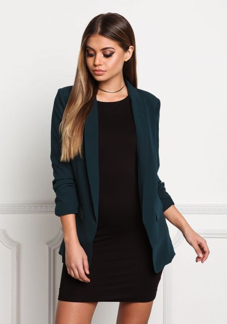Hunter Green Ruched Sleeve Woven Blazer