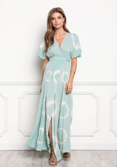 Sage Tie Dye Wrap Maxi Dress