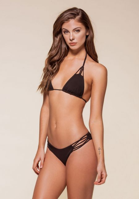 Black Knotted Multi Strap Bikini Set