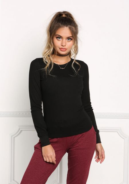 Black Thermal Pullover Top