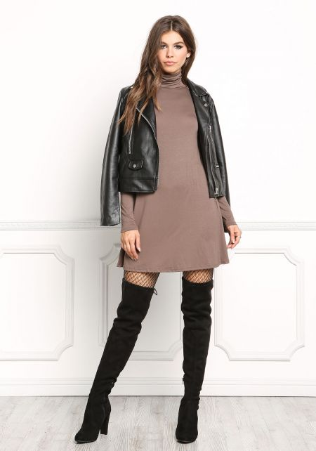 Mocha Jersey Knit Turtleneck Shift Dress