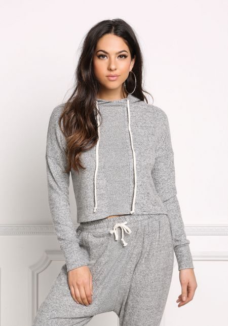 Heather Grey Soft Knit Marled Hooded Sweater Top