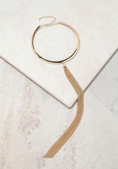 Gold Chain Tassel Neck Collar