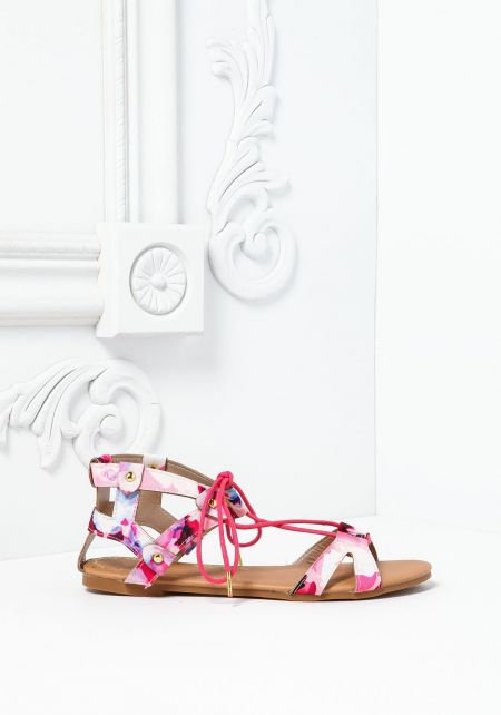 Pink Floral Cut Out Tie Up Sandals