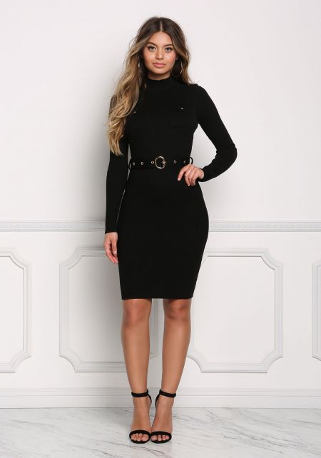 Black Cinched Ribbed Knit Bodycon Dress