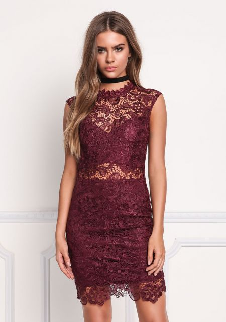 Wine Paisley Embroidered Lace Bodycon Dress