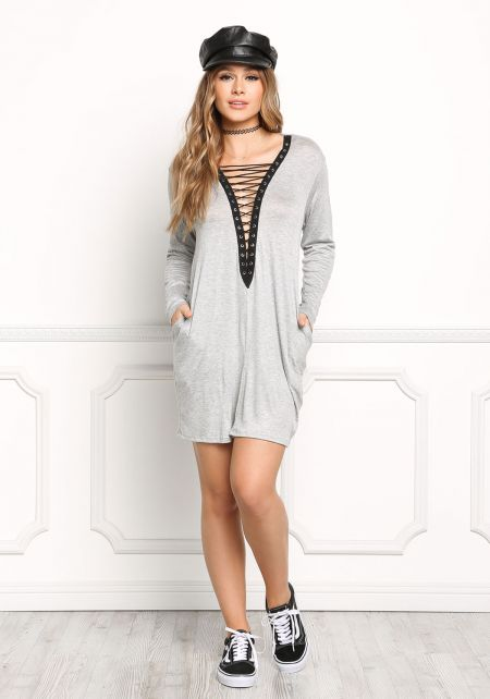 Grey Plunge Lace Up Shift Dress