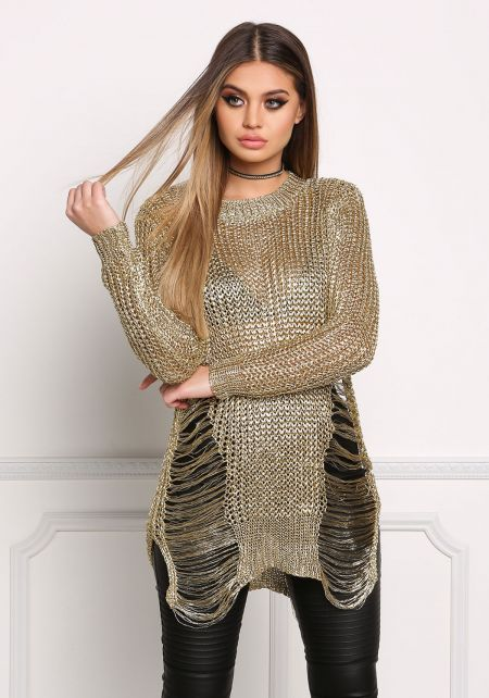 Gold Metallic Knit Frayed Tunic Top