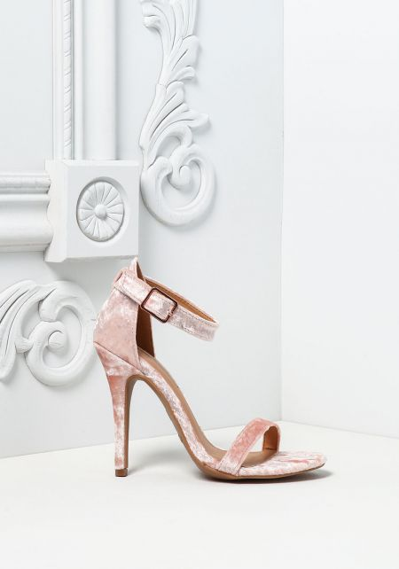 Blush Crushed Velvet Classic Ankle Strap Heels