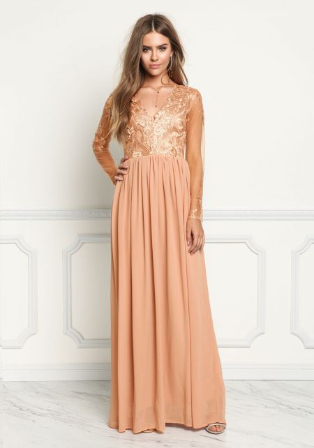 Dusty Rose Tulle Embroidered Chiffon Maxi Gown
