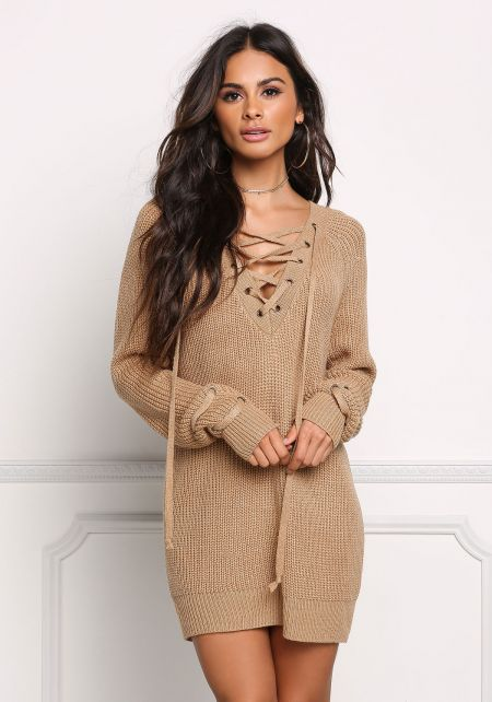 Mocha Chunky Knit Lace Up Sweater Top