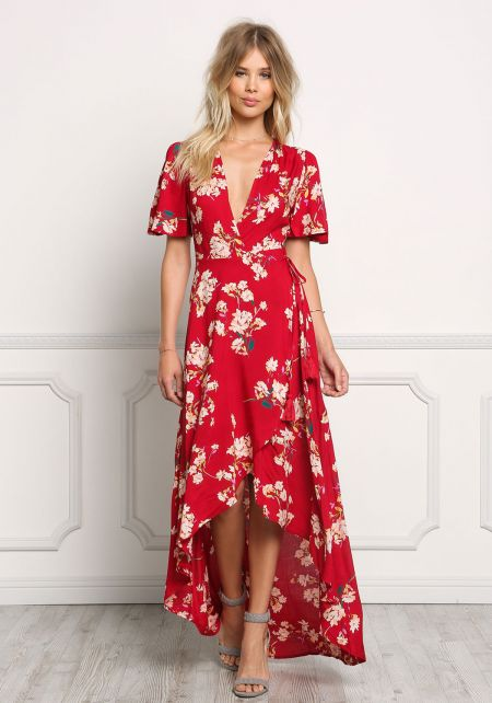 Red Floral Wrap Hi-Lo Maxi Dress