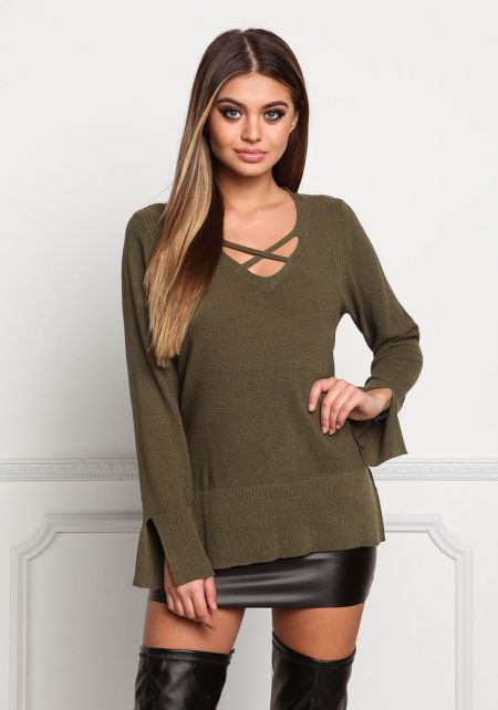 Olive Cross Strap Ribbed Knit Sweater Top