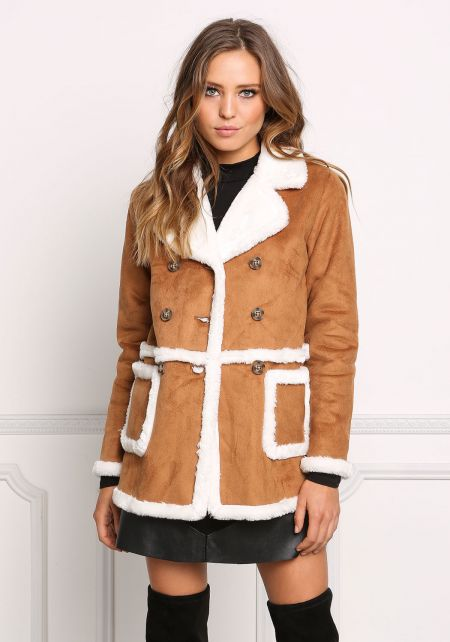 Camel Faux Shearling Suedette Double Breasted Coat