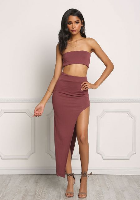 Wine Jersey Knit High Slit Maxi Skirt