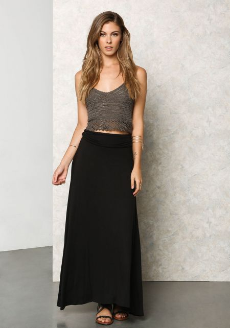 Black Jersey Knit Fold Over Maxi Skirt