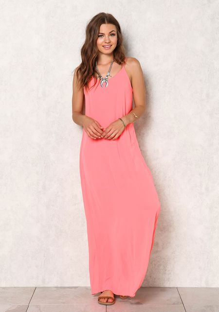 Coral Chiffon Caged Maxi Dress