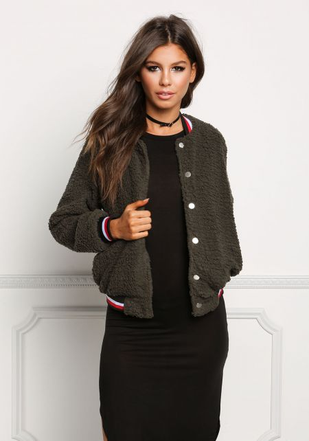 Olive Soft Faux Fur Bomber Jacket
