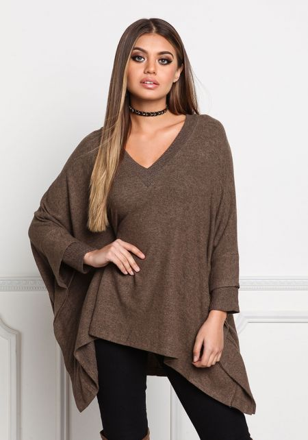 Mocha Soft Knit Pointed Sweater Top