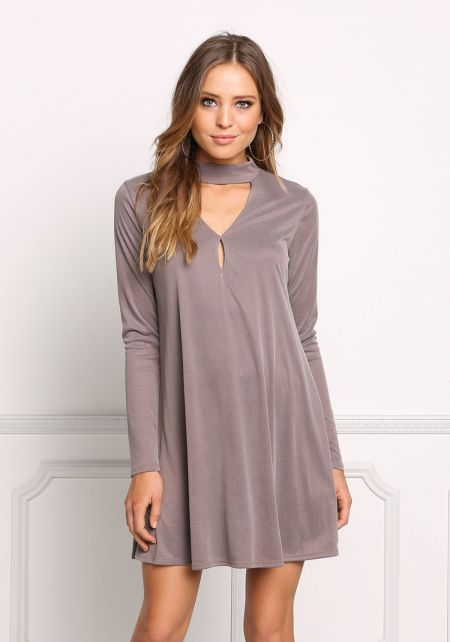 Mocha Cut Out Choker Shift Dress
