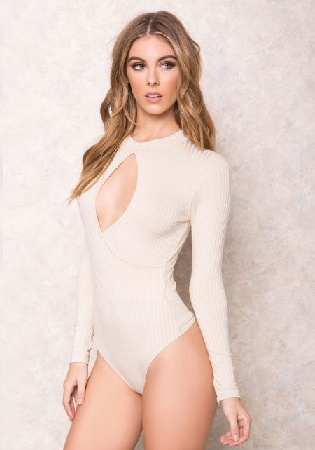 Beige Cut Out Wrapped Ribbed Bodycuit