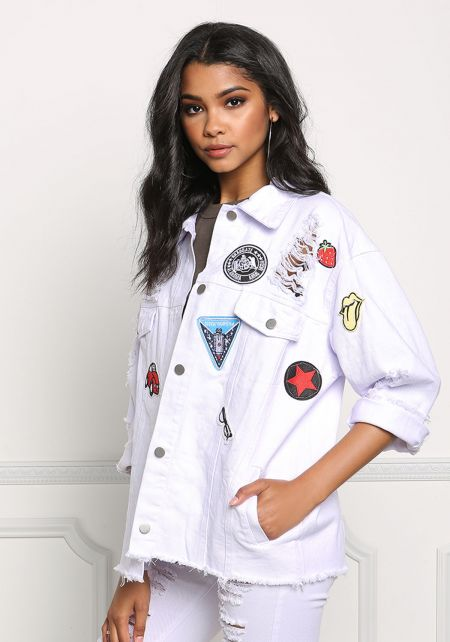 White Distressed & Patched Boxy Denim Jacket