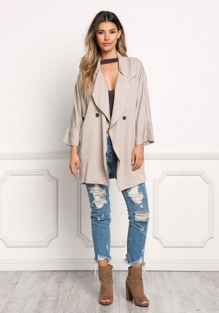 Stone Light Slouchy Trench Coat