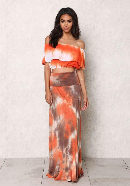 Rust Jersey Knit Tie Dye Maxi Skirt