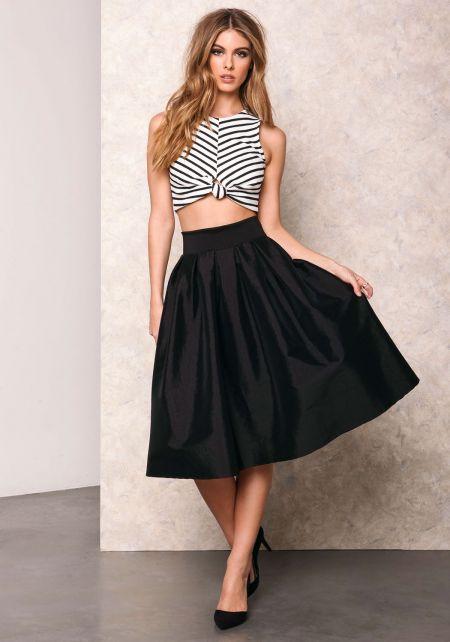 Black Classic Bow Tie Midi Skirt