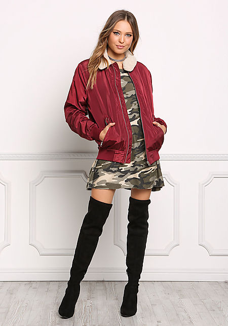 Burgundy Faux Shearling Windbreaker Bomber Jacket