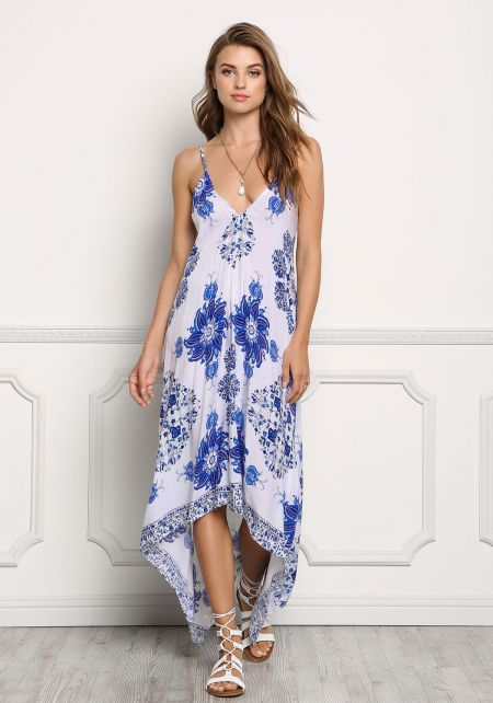 Blue Floral Print Hi-Lo Maxi Dress