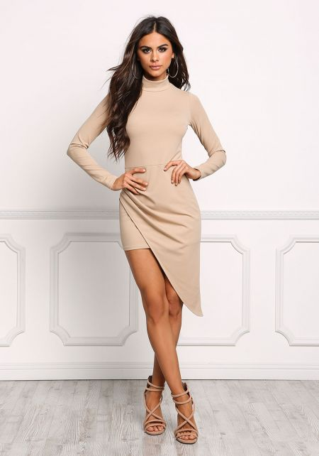 Taupe Asymmetrical Surplice Slit Bodycon Dress