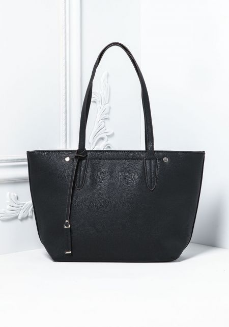 Black Leatherette Classic Tote Bag