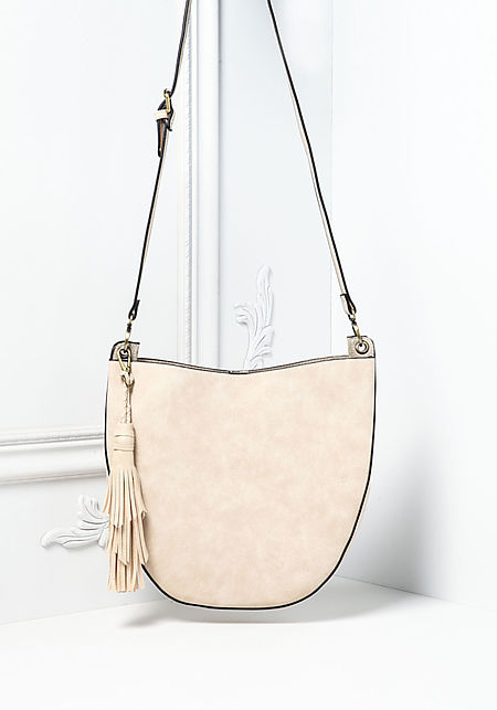 Beige Curved Leatherette Crossbody Bag with Pouch