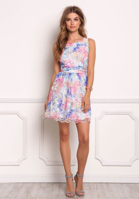 Multi Floral Embroidered Organza Dress