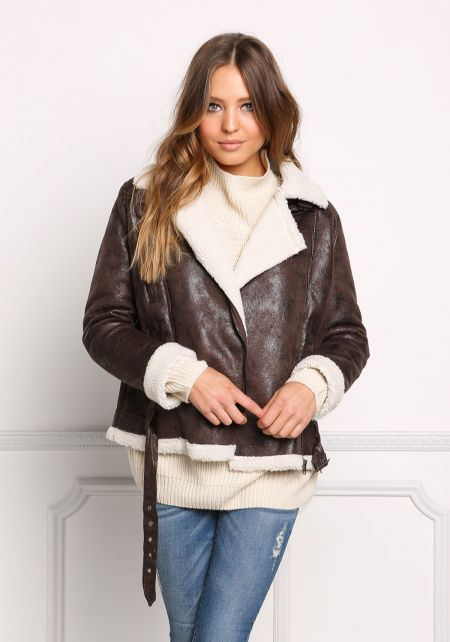 Brown Faux Shearling Suedette Moto Jacket