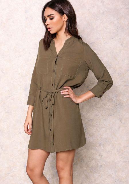 Olive Drawstring Blouse Dress