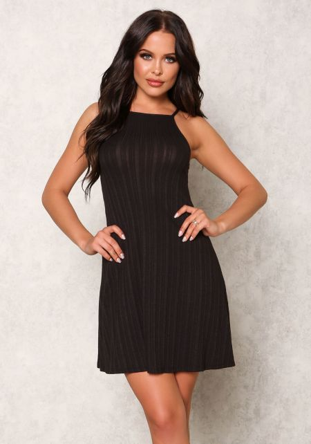 Black Ribbed Knit Cami Dress