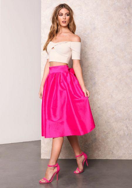 Fuchsia Classic Bow Tie Midi Skirt