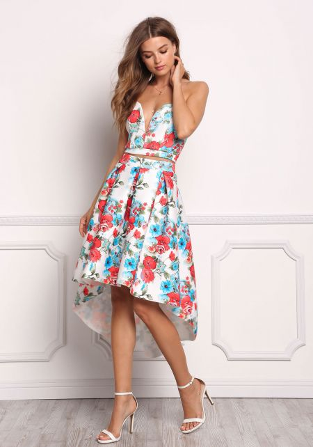 Multi Floral Pleated Hi-Lo Skirt