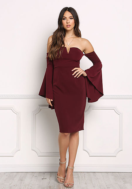 Wine Bardot Bell Sleeve Bodycon Dress