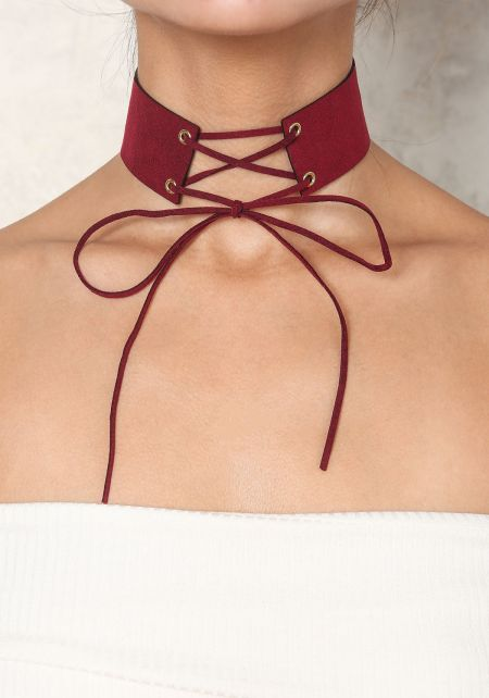 Burgundy Suedette Lace Up Choker